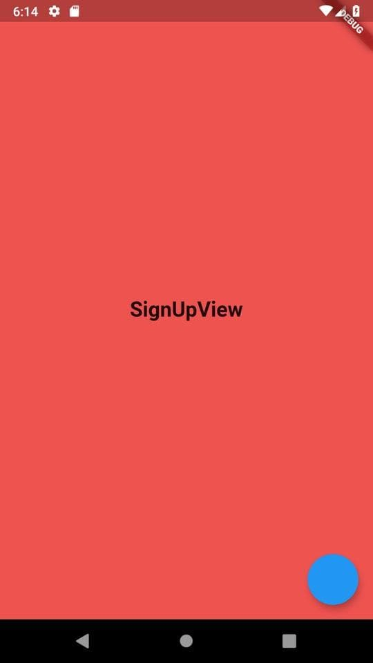 Sign Up view Starting Screen