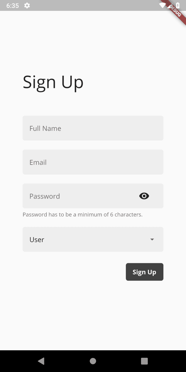 Sign Up ScreenShot